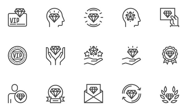 VIP vector line icons set. Very important person, VIP customer. Editable stroke. 48x48 Pixel Perfect.