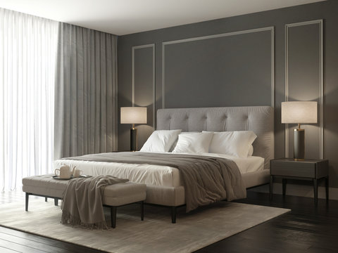 Classic grey bedroom interior with grey buttoned bed and luxury lamps and a stool