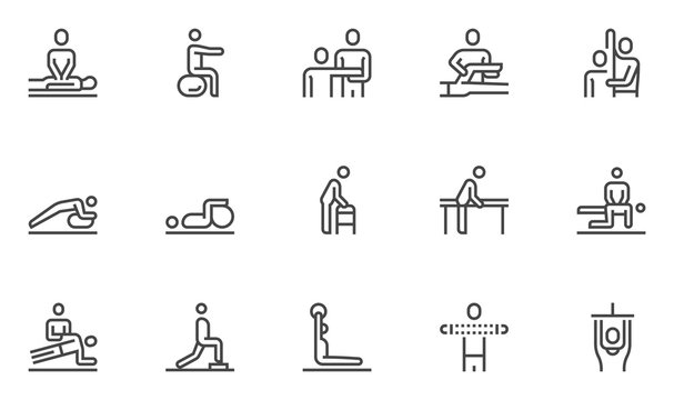 Physical Therapy Vector Line Icons Set. Rehabilitation Treatment, Therapeutic, Physiotherapy, Recuperation. Editable stroke. 48x48 Pixel Perfect.