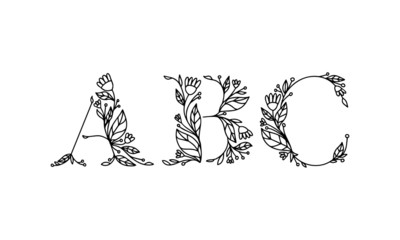 floral alphabet illustration, hand drawn vector font with isolated background