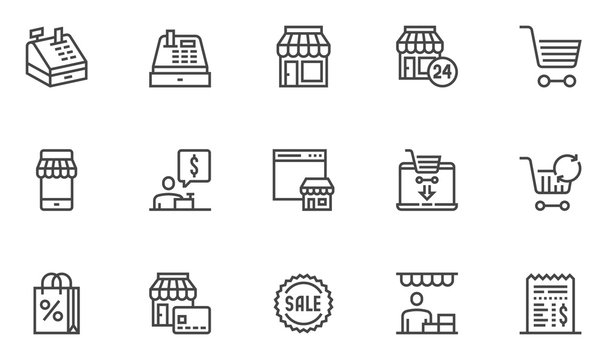 Simple Set of Shopping and Market Related Vector Line Icons. Contains such Icons as Store Statistics, Product Promotion, Buyer and more. Editable Stroke. 48x48 Pixel Perfect.