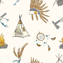 Native american indian warior vintage bohemian pattern. Teepee, warbonnet, indian ax, dream catcher boho sioux tribal print. Nursery kids background