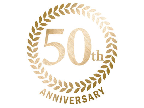 50th anniversary logo with laurel motif. Gold metallic color with hairline and metal texture.