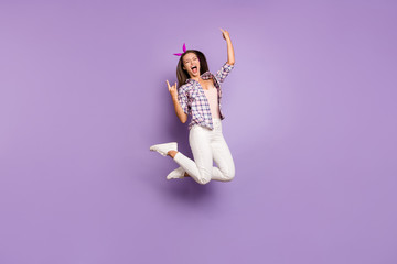 Keuken foto achterwand Wanddecoratie met eigen foto Full length body size view of her she nice attractive cheerful cheery funky crazy girl jumping having fun showing horns symbol isolated on violet purple lilac pastel color background