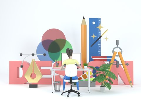 Girl web designer in a working environment. 3d icons and graphic design elements on a white background. Concept illustration for web page or banner. 3d rendering.