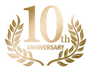 10th anniversary logo with laurel motif. Gold metallic color with hairline and metal texture.