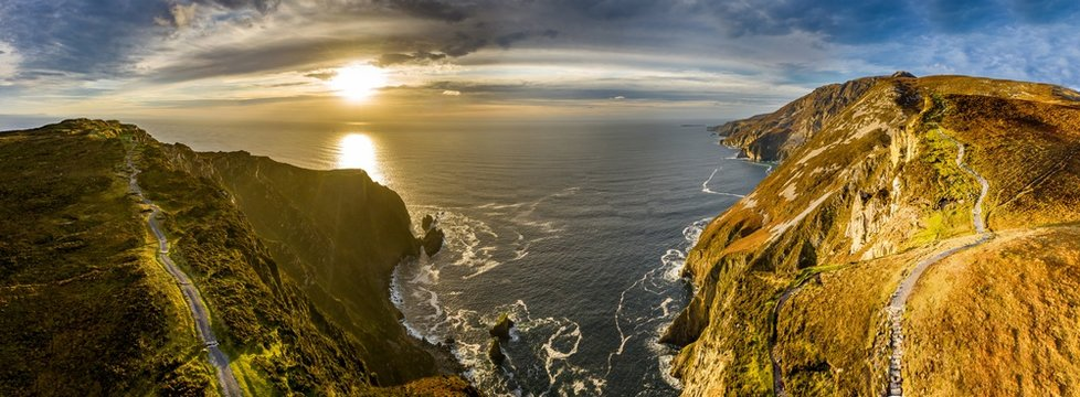 Aerial of Slieve League Cliffs are among the highest sea cliffs in Europe rising 1972 feet or 601 meters above the Atlantic Ocean - County Donegal, Ireland