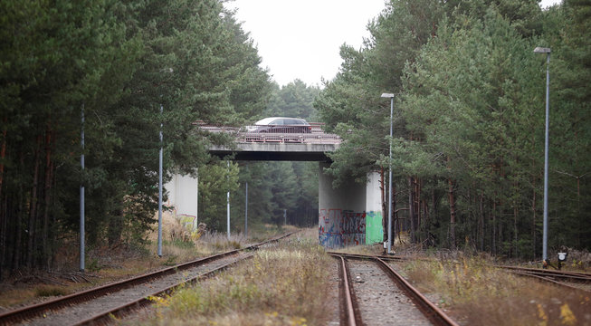 Railroad tracks are pictured at Freienbrink district of Gruenheide near Berlin