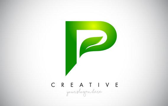 P Leaf Letter Logo Icon Design in Green Colors Vector Illustration.