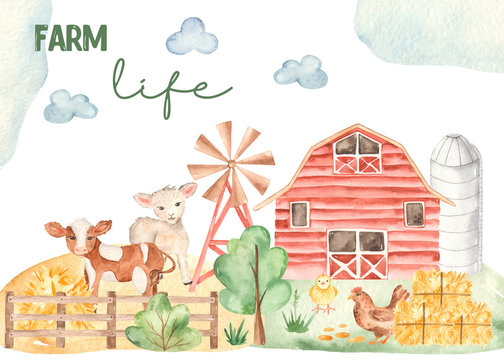 Watercolor card life of a farmer with cute horse, lamb, chicken, barn, hay