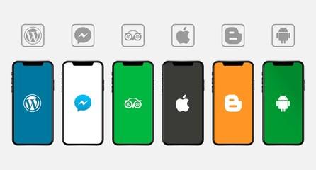 Rawang, Malaysia - November 11, 2019: Apple Iphone with different mobile application logos: Wordpress, Facebook messenger, TripAdvisor, Apple, blogspot, android