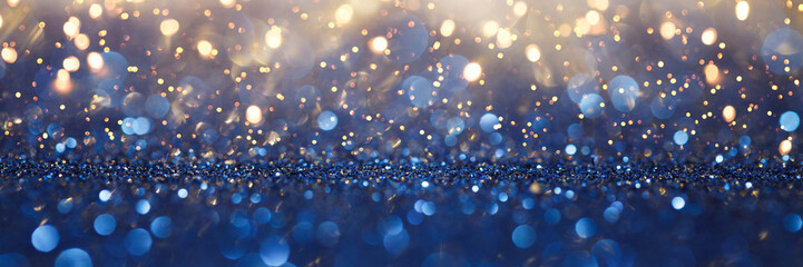 Vintage lights background. Gold lights and blue glitter. defocused Wall mural