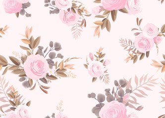 Seamless floral pattern with flowers on light background. Engraving style. Template design for textiles, interior, clothes, wallpaper.  Vector illustration art