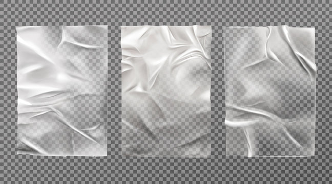 White wet paper, bad glued wheatpaste set. Wrinkled and creased sheets with crumpled texture isolated on transparent background, blank posters mock up for ads design. Realistic 3d vector illustration