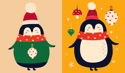 Fotomurales - Vector Christmas cartoon illustration of cute penguins with scarf