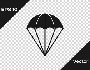 Grey Parachute icon isolated on transparent background. Vector Illustration