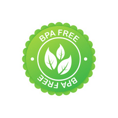 Green colored BPA free emblems, badge, logo, icon. Vector stock illustration.