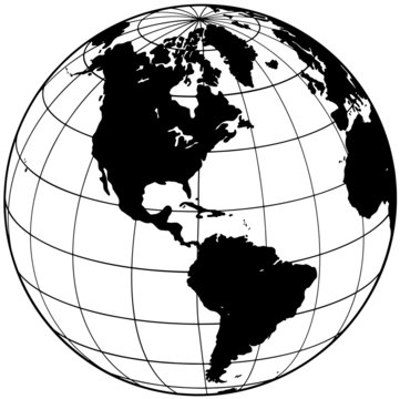 Black and transparent isolated globe, modern drawn element. Earth symbol, with meridians. The side of America.