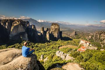 Man Overlooking Meteora - Greece, Europe