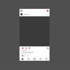 Instagram interface mockup. Instagram photo frame mockup.