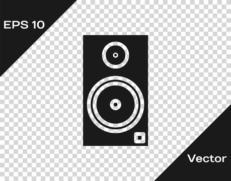 Grey Stereo speaker icon isolated on transparent background. Sound system speakers. Music icon. Musical column speaker bass equipment. Vector Illustration