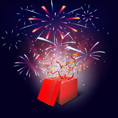 Merry christmas fireworks background with gifts box