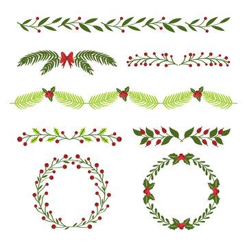 Hand drawn christmas frames and borders set.Vector