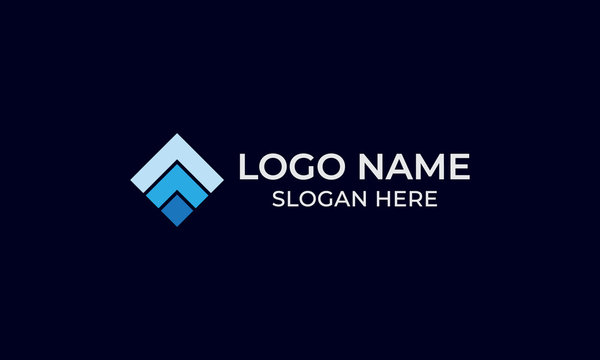 a simple square logo in blue colors on a black background for tile company