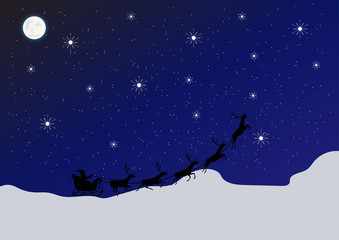 winter background with moon and stars