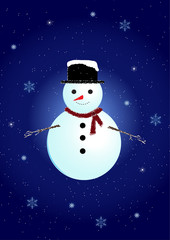 snowman with snowfall background
