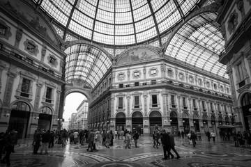 Tuinposter Milan Galleria Vittorio Emanuele Milan Italy - black and white image