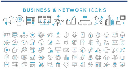 business & network icons Fotobehang