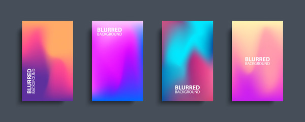 Blurred backgrounds set with modern abstract blurred color gradient patterns. Templates collection for brochures, posters, banners, flyers and cards. Vector illustration. Fotomurales