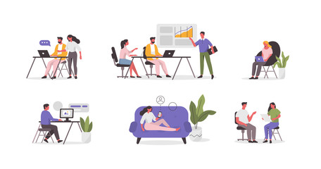 Business People Characters in Coworking Place. Businessman and Businesswoman Working, Discussing and Meeting in Open Space Office. Coworkers and Freelancers Team. Flat Cartoon Vector Illustration.