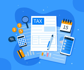 Office Desk with Documents for Tax Calculation. Finance Report with Graph Charts. Calendar show Tax Payment Date. Accounting and Financial Management Concept. Flat Cartoon Vector Illustration.