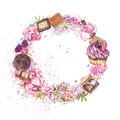 Watercolor image of a wreath of sweets, candies in the shape of hearts, chocolates, cakes and envelope, Valentine's Day. Perfect for cards, prints, invitations, birthday cards.