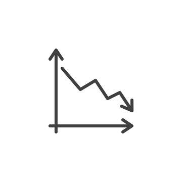 Business decline graph line icon. Decrease diagram linear style sign for mobile concept and web design. Falling graph arrow outline vector icon. Crisys symbol, logo illustration. Vector graphics