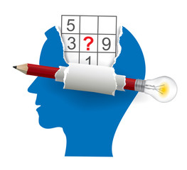 Male head with sudoku and smart Pencil with bulb. Stylized male head silhouettes of sudoku player.  Vector available.
