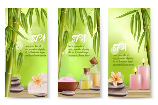 Spa salon services vector banner template set