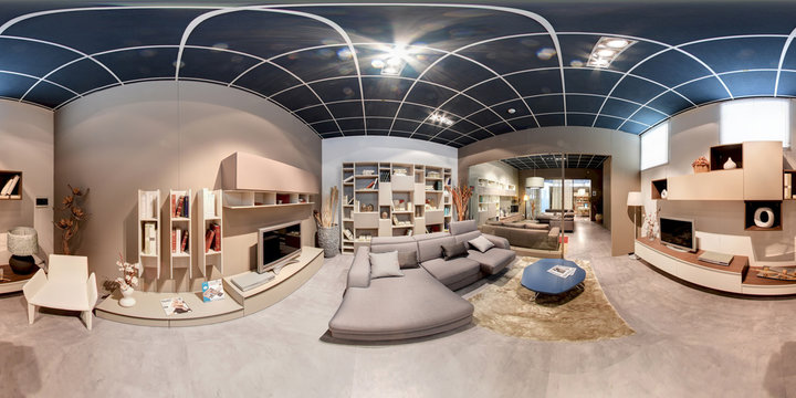 360 degree panorama of a modern living room