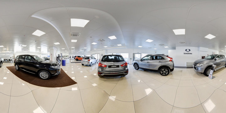 360 degree panorama of a new car dealership