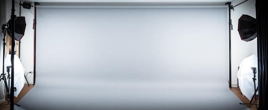 Wide Neutral Grey Photostudio Background