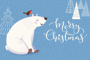 Merry Christmas greeting card with cartoon polar bear and bird