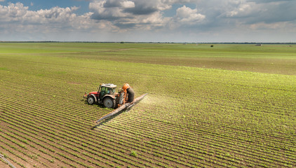 Wall Mural - Tractor spraying soybean field