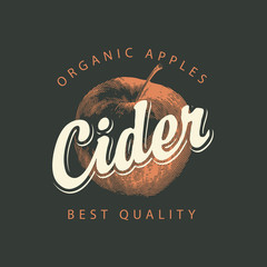Vector label for Apple cider with a realistic image of an apple and calligraphic inscription on a black background in retro style