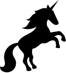 Black silhouette of a fantasy unicorn rearing up