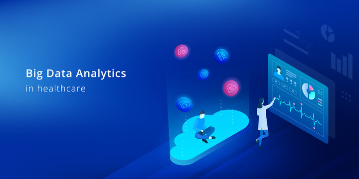 Big data analytics in healthcare - isometric biotechnology concept. The developer works with big data in medicine.