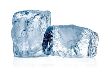 Two ice cubes close up on white background