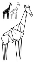 Image of paper giraffe origami (contour drawing).