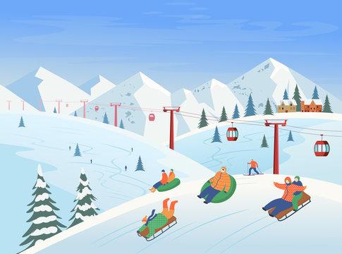 Winter landscape with ski lift, mountains, people sledding, skiing. Ski resort. Vector flat illustration.